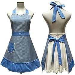 Lovely corazones Retro cocina delantales de mujer niña algodón cocina salón delantal. Vintage vestido delantal con bolsillo, color azul