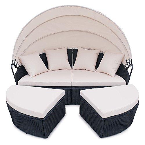 POLY RATTAN Sunbed Lounge Gartenset Schwarz Sofa Garnitur Polyrattan Gartenmöbel Neu - 2