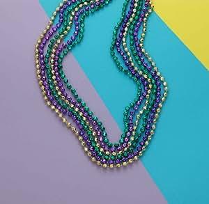 "Mardi Gras Globe Costume Beads 33"" Assorted Purple, Green & Gold (Pack of 12)"