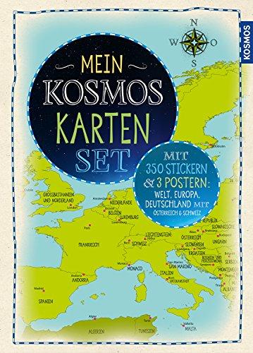 Mein KOSMOS Karten Set: 3 Poster + 350 Sticker: Welt, Europa, Deutschland + Österreich und Schweiz