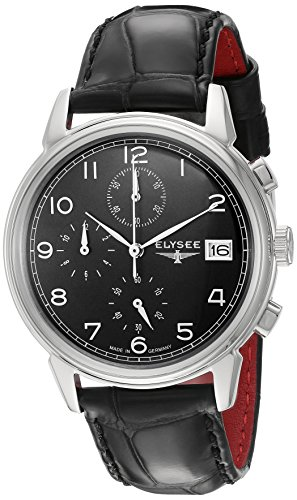 ELYSEE Made in Germany Vintage Chrono 80551 40mm Stainless Steel Case Black Calfskin Synthetic Sapphire Men's Watch