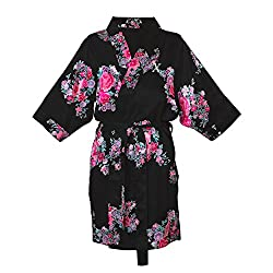 Cathys Concepts Personalized L/XL Floral Satin Robe, Black, Letter X
