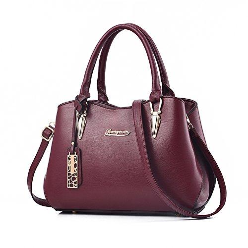 BESTOU Damen Handtasche Schwarz groß Leder Damen Schultertasche Frauen Umhängetasche (Rot) (Rot-damen-umhängetasche)