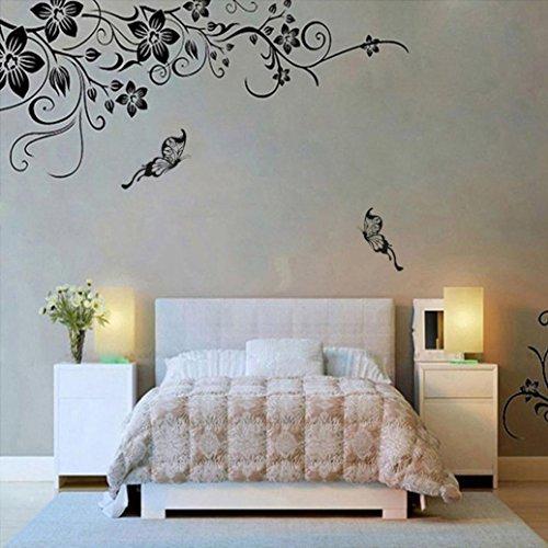 Pegatinas pared, Amlaiworld Pegatina de pared de vinilo extraíble Etiqueta mural decoración hogar de arte Flores y vid