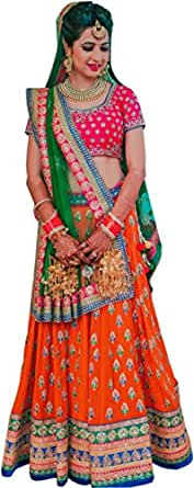 ShreeBalaji Women's taffeta silk Embroidary Anarkali Lehenga Choli (OrangeLeh01_Multi-Coloured_Free Size)