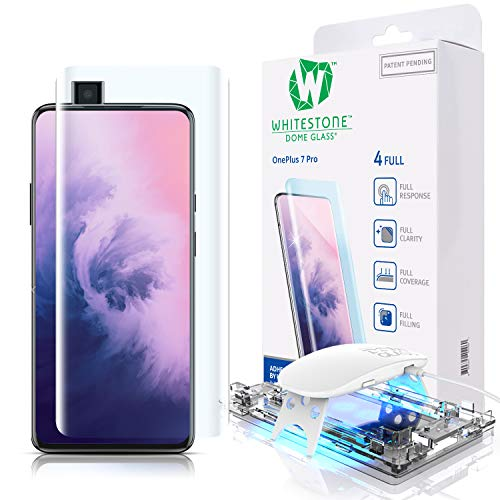Tempered Glass Screen Protector for OnePlus 7 Pro and 7 Pro 5G, [Dome Glass] Full 3D Curved Edge Exclusive Solution, Easy Install Kit by Whitestone for OnePlus 7 Proand 7 Pro 5G - 1 Pack Protector Kit