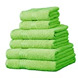 Linens Limited Supreme 100% Egyptian Cotton 6 Piece Hotel Towel Set, Lime Green