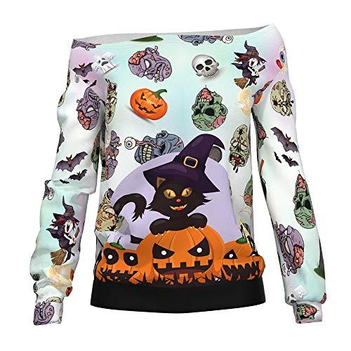 WANLN Halloween aus der Schulter übergroße Slouchy Sweater - Clown Auf Der Stadt Kostüm