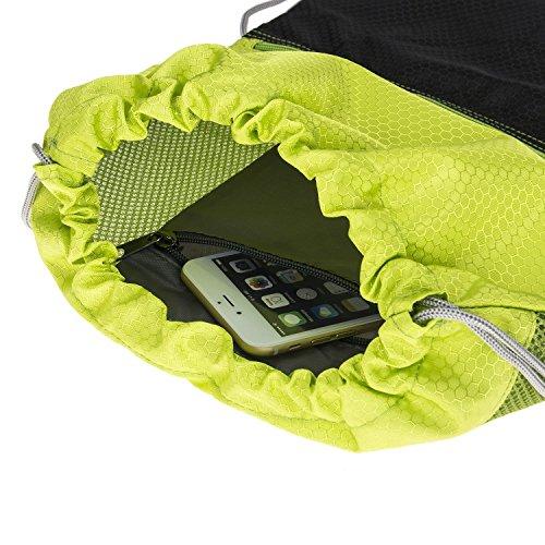 G4Free Unisex Rucksack Gym Sack Sporttasche Turnbeutel für Shopping Yoga Laufsport (Schwarz) Grün und schwarz