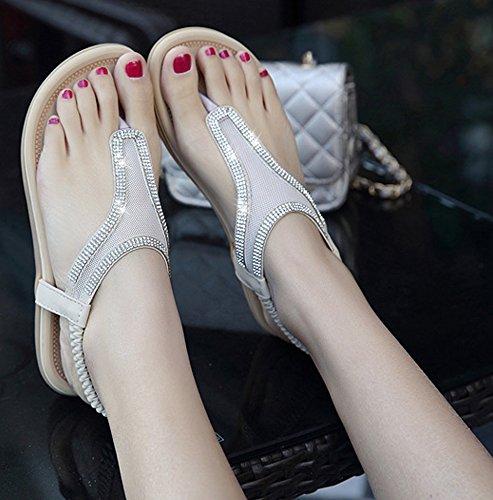 Minetom Femmes Filles Été Des Sandales Fil strass Bohémien Style Chaussures Talon Plat Tongs Peep Toe Chaussons Abricot