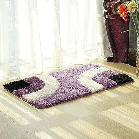 """fanjow® Anti-Rutsch Shag Teppich Modernes Living & Schlafzimmer Weiche Shaggy Bereich Teppich Geometrische Design Fußmatte Teppich für Wohnzimmer, Schlafzimmer, Bad, Polyester-Mischgewebe, violett, 45*65cm(18""""*25"""")"""