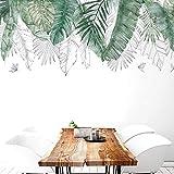 Myytcy Fresco Natural Verde Tropical Árbol de Rafia Hojas Etiqueta de La Pared de Vinilo DIY Mural Art Sticker para la Sala de Estar Dormitorio Tatuajes de Pared