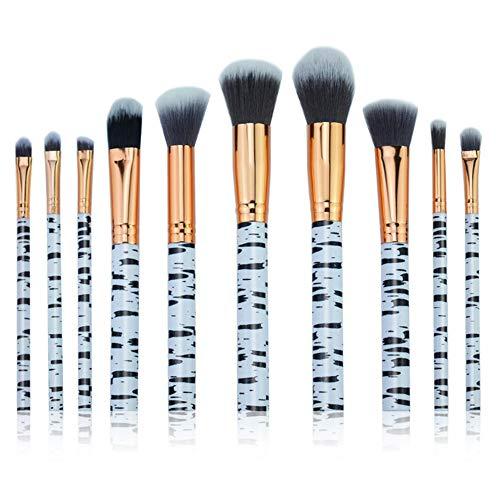Cdet. 10Pcs Kit De Pinceau Maquillage en Visage et Oeil avec Cosmétiques Brush Ensemble Fondation Mélange Blush Yeux Poudre Brosse Make Up Série de marbre de Grain Gris
