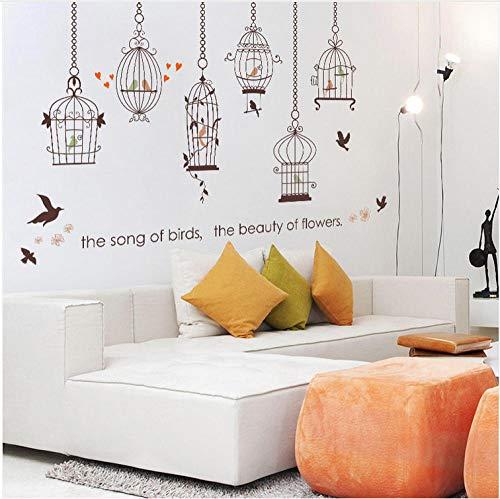 n Cage Bird Wandaufkleber , Kreative Vogelkäfig Flying Birds Schlafzimmer Wohnzimmer Glas Dekoration Diy Decals ()