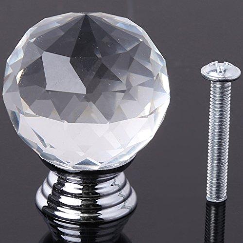 Cuigu Schubladengriffe, 30mm Runde Clear Crystal Sparkle Diamond Glas Kabinett Knöpfe Schublade ziehen Griff