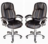 TimberTaste 2 Pcs (PAIR) of High Quality LILLY Black with Golden Stitch Directors, Executive, Boss, conference high back office chair (set of 2)