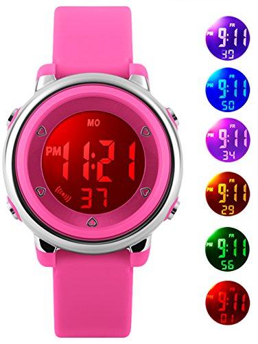 Kinder Digitaluhren für Mädchen Geschenke - 5 Bars wasserdicht Outdoor Sportuhr mit 7 LED-Hintergrundbeleuchtung/Wecker/Stoppuhr, Elektrische Armbanduhr für Teenager Kinder von VDSOW