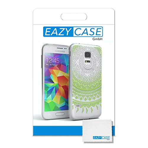 Samsung Galaxy S5 Mini Hülle - EAZY CASE Handyhülle - Ultra Slim Glitzer Schutzhülle aus Silikon in Gold Henna Weiß / Grün
