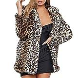 SuperSU modern Vintage Damen Kunstpelz Herbst Winter slim fit Mantel mit Leopardenmuster Frauen warme Top Sweatshirt Damen Leopard Print Pullover Jumper Coat Parke Outwear Mantel Funktionsjacke