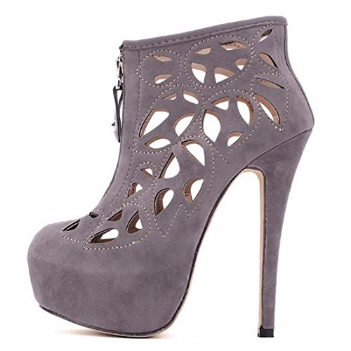 QIYUN.Z Nobles Femmes Fermeture Glissiere Creuse Talons Aiguilles Sexy Partie Chaussures Talon Haut Bout Rond Sandales Gris
