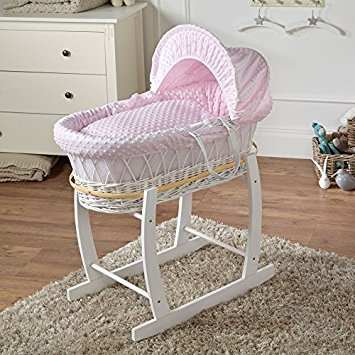 Pink Dimple White Wicker Deluxe Moses Basket & White Rocking Stand