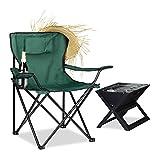 Relaxdays silla camping plegable acolchada con respaldo, reposabrazos, soporte para bebidas, acero y poliéster, verde, 80 x 79 x 50 cm