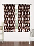 Home Spark Wave 2 Pieces Polyester Brown Window Curtains - 5 feet
