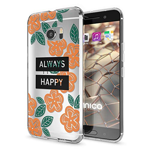 NALIA Handyhülle kompatibel mit HTC 10, Slim Silikon Motiv Case Cover Crystal Schutzhülle Dünn Durchsichtig, Etui Handy-Tasche Backcover Transparent Smartphone Bumper, Designs:Always Happy 10 Slim Tasche Case