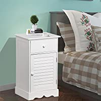 Yaheetech Narrow Wood Bedside Cabinet Table Drawer Cupboard Nightstand White with Adjustable Height Chests Shelf