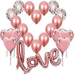 Idea Regalo - Palloncini Rosa Oro Dorato, Love XXL, 6 Palloncini a Cuore, 4 Palloncini Coriandoli Rosegold, 10 in Lattice, Decorazione Romantica San Valentino, Anniversario Matrimonio e Fidanzamento