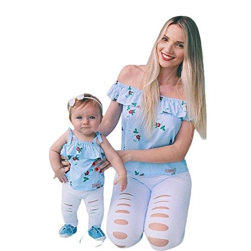 Storerine Mutter und Tochter Mommy & Me Mädchen Blumendruck Ärmelloses Rüschen T-Shirt Tops Familienkleidung ()