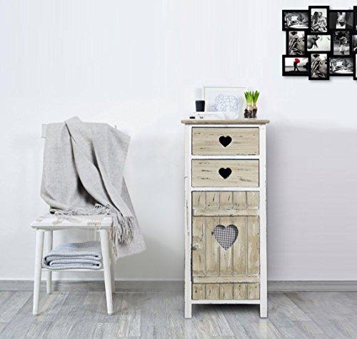 Rebecca Mobili Armadietto Shabby, cassettiera Camera da Letto, 2 cassetti 1 Anta, Stile Shabby, Legno paulonia, Bianco Beige - Misure: 84 x 37 x 31 cm (HxLxP) - Art. RE4415 - 2