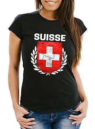 Damen T-Shirt – Fußball EM 2016 Schweiz Swiss Suisse Flagge Vintage – Comfort Fit MoonWorks®