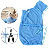 AiQInu Katzen Dusche Schutztasche mit Krallenschere Atmungsaktiv Katze Waschen Mantel Anti-Kratz Cat-Care Beutelsack + Nagelpflege Set