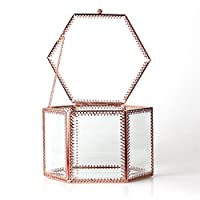 NCYP Vintage Faceted Hexagonal Prisms Mirrored Brass Glass Stylish Jewellery Box Jewellery Organiser Display Storage Case for Rings Earrings Necklace with Hinged Top Lid