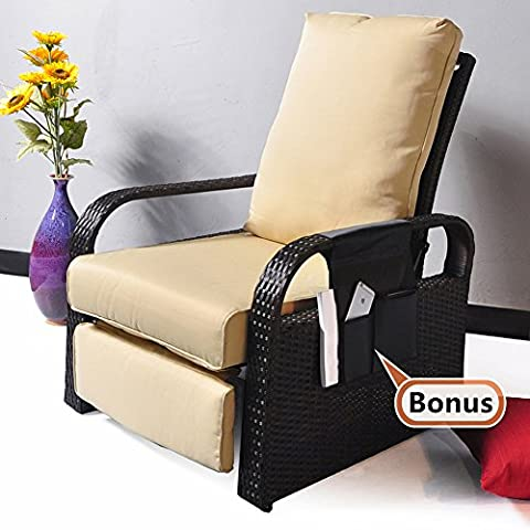 ATR All Weather Wicker Chair Sofa - Adjustable Patio Garden Recliner with Cushions - UV/Fade/Water/Sweat/Rust Resistant - Easy to Assembly (Brown Wicker + Khaki