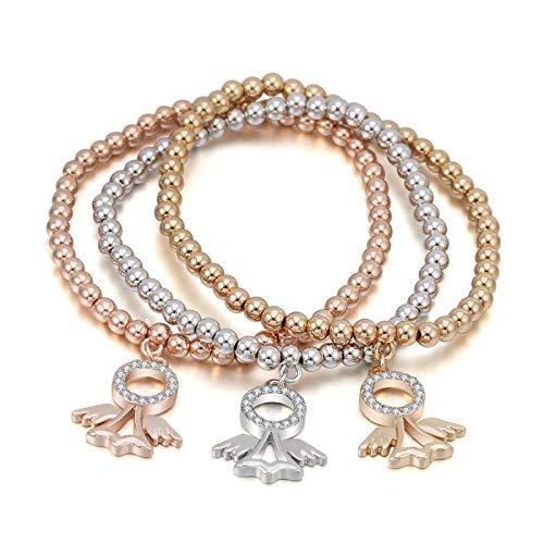 Delicate girl-shouzhuo crystal angel fairy charms bracciali per donne migliore amico mescolare colori oro perle bracciale catena elastica gioielleria regali di natale