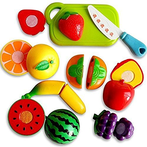 ArtToys Realistic Sliceable Fruits Or Vegetables Cutting Play Kitchen Set Toy (7 pcs Set) with Various Fruits Or Vegetables,Knife,Plate and Cutting Board for Kids,Random Set