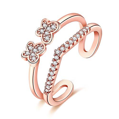 Styleziel Damen Ring Rot Gold Geschwungen Blüte Schmetterling mit kleinen Kristallen Größe verstellbar Eyecatcher Neu 2211