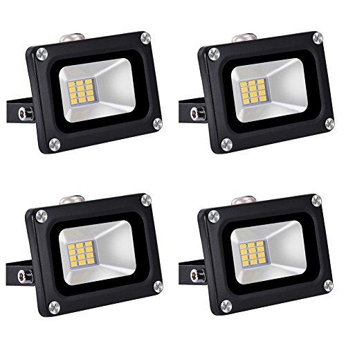 4×10W Étanche IP65 Lumière Blanc Chaud Himanjie LED Spot Projecteur ,Extérieur et Intérieur pour Jardin, Terrasse, Square,Cour,Usine [Classe énergétique A+]