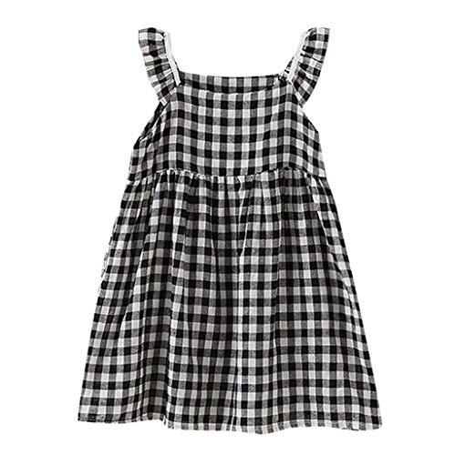 (SANFASHION Baby Mädchen Minikleid Kinder Ärmellos Gekräuselte Plaid Elegante Prinzessin Kleider Beiläufiges Rock)