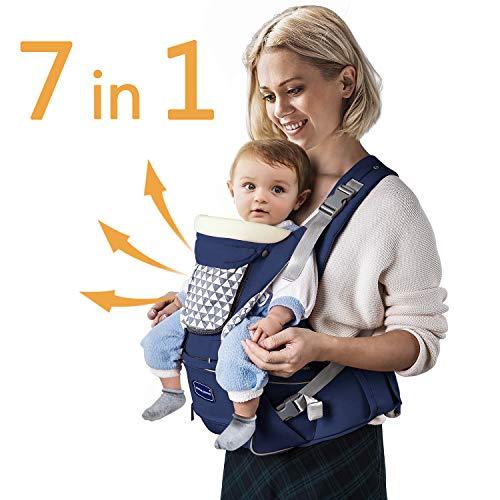 Windsleeping Portabebés ergonómico con asiento de cadera,7 posiciones para llevar a sus recién nacidos, bebés o niños pequeños,puro algodón,Seguridad,Comodidad y mejor de regalo para bebés,azul oscuro