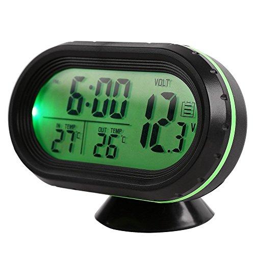 GuDoQi Auto Thermometer LCD Uhr Tragbare Digitale Kleine Temperatur Zeit Leuchtuhren Grün