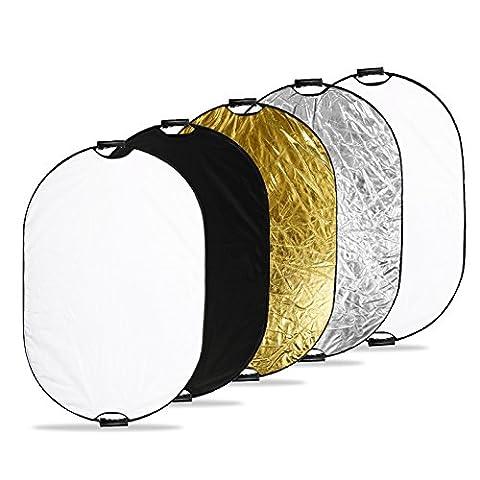 Réflecteur de Lumière,Zecti Pliable Réflecteur 5 en 1 Photographique 40x59 Pouces/ 100*150cm pour la Photographie (Oro Diffusore)