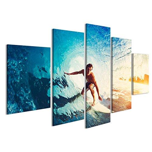 islandburner Bild Bilder auf Leinwand Surfer auf Blue Ocean Wave, der Bei Sonnenaufgang barreled Wird Wandbild, Poster, Leinwandbild EYK