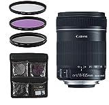 Canon Objektiv - EF-S 18-135mm 1:3.5-5.6 is STM - Telezoomobjektiv für Spiegelreflexkameras + 3-Teiliges Filterset UV, FLD, CPL - Schwarz