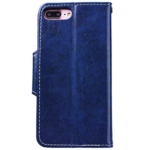 WE LOVE CASE iPhone 7 Plus 5,5 Hülle Schutzhülle , iPhone 7 Plus 5,5 Lederhülle Im Retro Style Muster Tasche Handytasche Backcover Stoßfest Protective Bumper Case Cover Brieftasche Kartenfächer Karten Blau