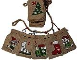 Adventskalender Jutesäckchen mit Weihnachtsmotiven - Girlande zum Befüllen
