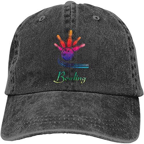 Sdltkhy Bowling Gift Unisex Washed Cotton Baseball Cap Vintage Adjustable Dad Trucker Hat Black