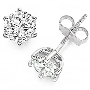 1.05 Carat D/VS1 Round Brilliant Certified Diamond Solitaire Stud Earrings in Platinum